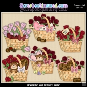 Beautiful Valentine Baskets ClipArt Graphic Collection
