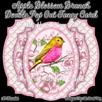 Apple Blossom Branch Double Pop Out Card