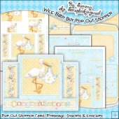 Wee Baby Boy Pop Out Stepper Card