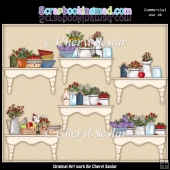 Prim Country Shelves ClipArt Collection
