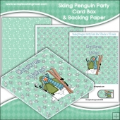 Skiing Penguin Party PDF Decoupage Card Box & Backing Paper