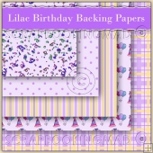5 Lilac Birthday Backing Papers Download (C54)