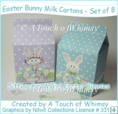 Easter Bunny Milk Cartons - Set of 8