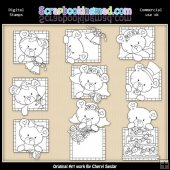 Peek A Boo Bears Wedding Digital Stamp Graphic Collection