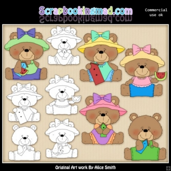 Beasley Spring Bears Clipart Graphics Download