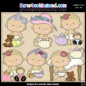 Sweet Babies Teaparty ClipArt Graphic Collection