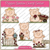Piggies Garden ClipArt Graphic Collection - REF - CS