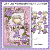 Girl In Lilac With Basket Of Flowers Card Front