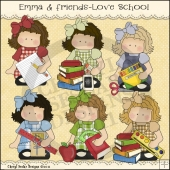 Emma and Friends Love School ClipArt Graphic Collection
