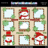 Red & Green Let It Snow Squares ClipArt Graphic Collection