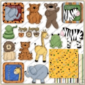 Stuffed Animals Jungle Fun ClipArt Graphic Collection