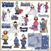 Kids Winter Fun ClipArt Graphic Collection