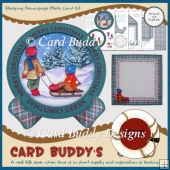Sledging Decoupage Plate Card Kit