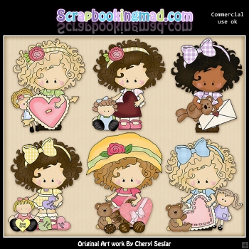 Little Lucy Be My Valentine ClipArt Graphic Collection