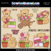 Teddies Fresh Flowers ClipArt Collection