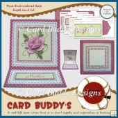 Pink Embroidered Rose Easel Card Kit