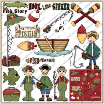 Gone Fishing ClipArt Graphic Collection