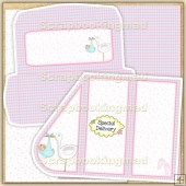 Pink & Green Baby Teardrop Card PDF Decoupage Download