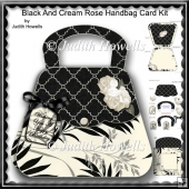 Black And Cream Rose Handbag Card Kit