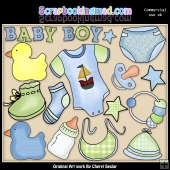 Baby Boy ClipArt Graphic Collection