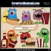 Silly Monsters Love Fast Food ClipArt Collection