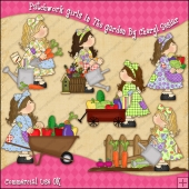 Patchwork GirlsIn The Garden ClipArt Graphic Collection