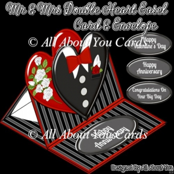 Mr and Mrs Double Heart Easel