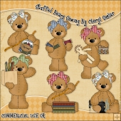 Stuffed Bears Sewing ClipArt Graphic Collection
