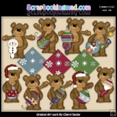 Christmas Ornament Bears EXCLUSIVE ClipArt Collection