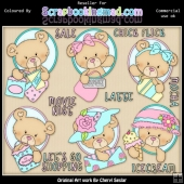 RESALE ART WORK Oval Bears Girls Day Out ClipArt Collection