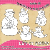 Snowbuddies Colour Your Own Clip Art RESALE SET