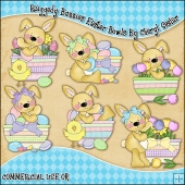 Raggedy Bunnies Easter Bowls ClipArt Graphic Collection