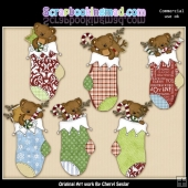 Tibbles Christmas Stockings ClipArt Collection