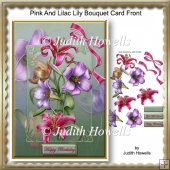 Pink And Lilac Lily Bouquet Card Front