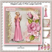 Elegant Lady In Pink Large Card Kit