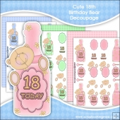 Cute 18th Birthday Bear Decoupage Download