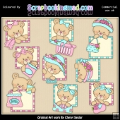 Peek A Boo Bears Shopping ClipArt Graphic Collection