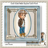 Cool Dude Male Square Card Front