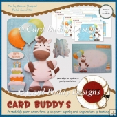 Party Zebra Shaped Fold Card Kit