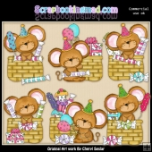 Mouse House Birthday Baskets ClipArt Collection