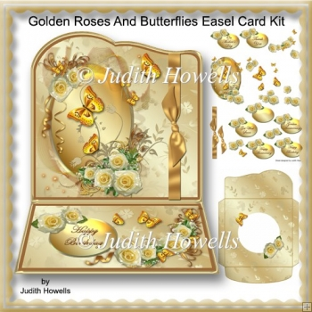 Golden Roses And Butterflies Easel Card Kit