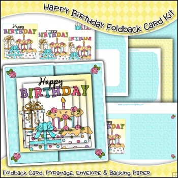 Happy Birthday Foldback Card, Envelope & Backing Paper