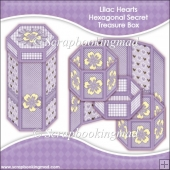 Lilac Hearts Hexagonal Secret Treasure Box