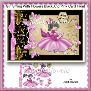 Girl Sitting With Flowers Black And Pink Card Front