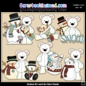 Stuffed Polar Bears Snow Pals ClipArt Collection