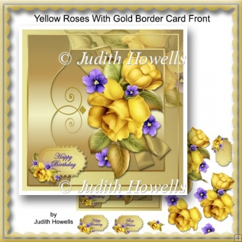 Yellow Roses With Gold Border Card Front