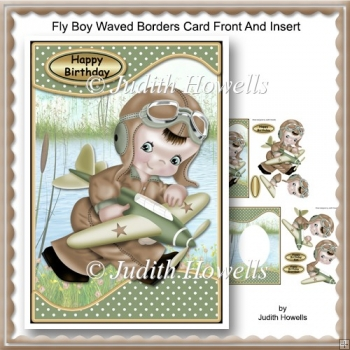 Fly Boy Waved Borders Card Front And Insert