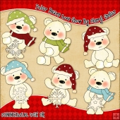 Polar Bears Love Snow ClipArt Graphic Collection
