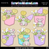 RESALE ART WORK - Denim and Blooms Mice ClipArt Collection