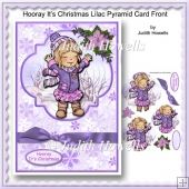 Hooray It's Christmas Lilac Pyramid Card Front